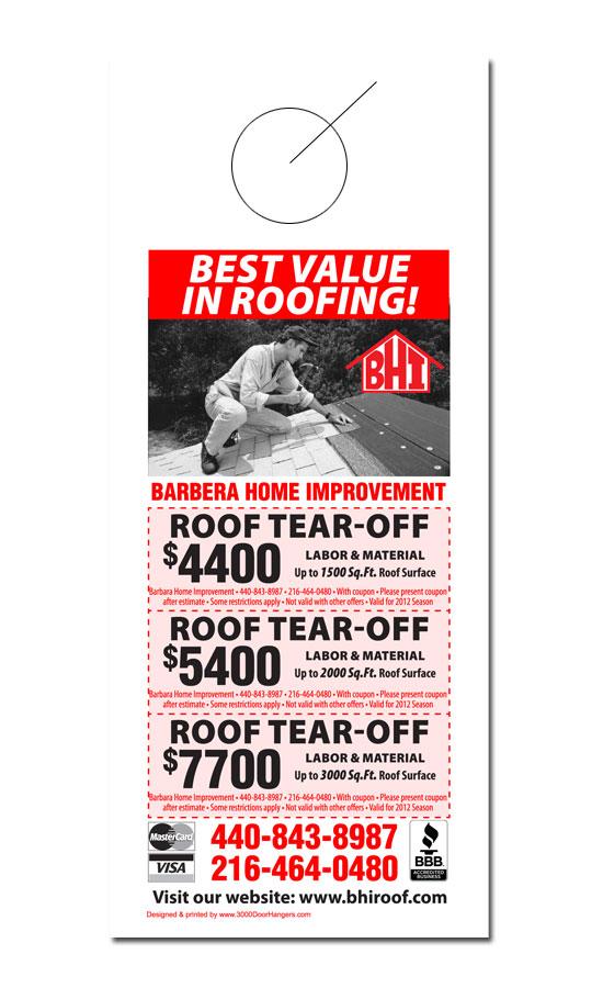 Roofing Door Hanger Samples