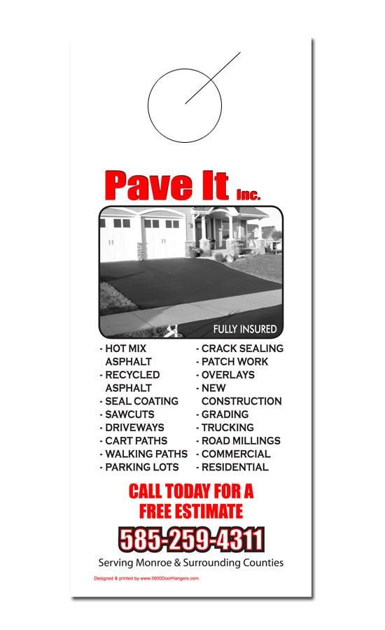 Concrete and paving door hanger samples for Door 2 door leaflets