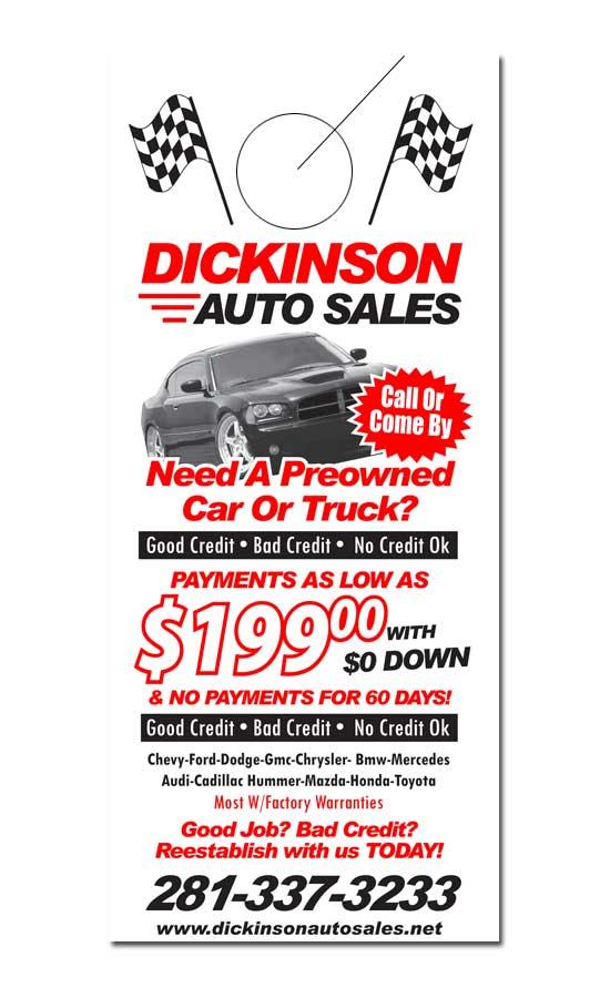 Auto Sales Door Hanger Samples