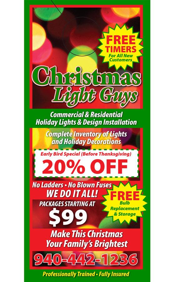 christmas light hanging door hanger samples - Christmas Light Hanging Business