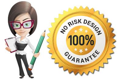 business woman standing next to design guarantee