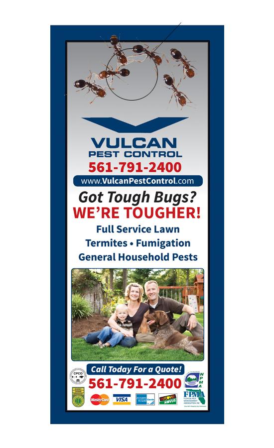 Vulcan Pest Control Door Hanger Sample