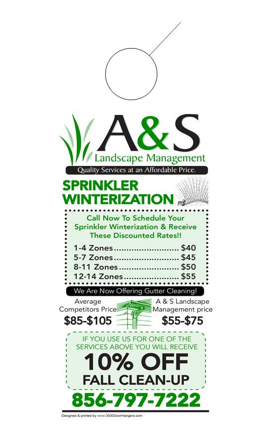 sprinklers and irrigation door hanger samples